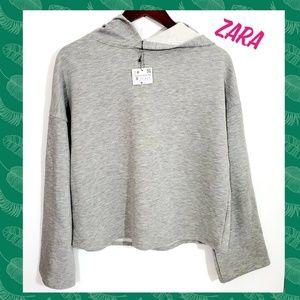 Zara Grey Hooded Sweatshirt.  Brand new w/ tags
